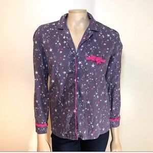 Victorias Secret Purple Button Flannel Pajama Top